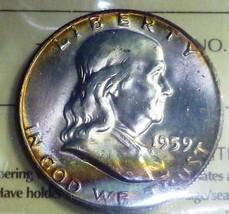 TONED - HIGH GRADE - 1959 50C  Franklin Half Dollar ICCS certified - $445.50