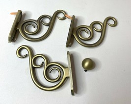 3 Pottery Barn Window Hardware Brushed Gold Wall Mounts And 1 Finial - $31.86