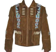 Mens Brown Buffalo Hide Leather Jacket Fringe Bone Bead Work XS to 5X - $202.90+