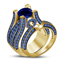 Blue Sapphire Womens Designer Bridal Ring Set 14k Gold Finish 925 Solid ... - $98.99
