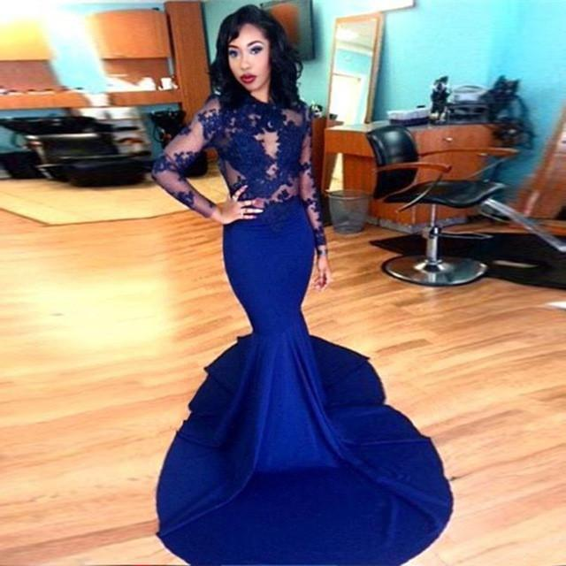 prom dresses 2016 gorgeous o neck top lace floor length stretch satin mermaid royal.jpg 640x640
