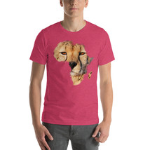 Africa Cheetah face Short-Sleeve Heather Raspberry T-shirt Men - Big Cat... - $34.00+