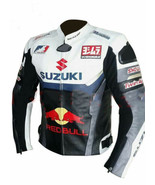 SUZUKI RED BULL MULTICOLOR REAL COWHIDE MOTORCYCLE RACING LEATHER JACKET... - $135.00