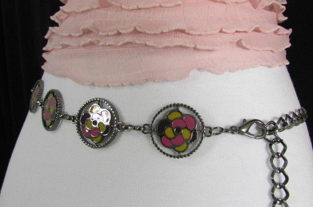 Damen Zinn Metall Bling Gürtel Gelb Rosa Blume Anhänger Hüfte Taille S M L image 11