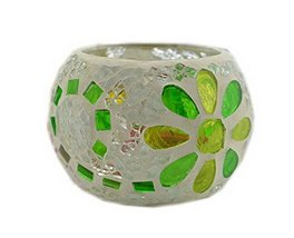 PANDA SUPERSTORE Green Flower Mosaic Glass Candle Holder Decorative Tealight Hol
