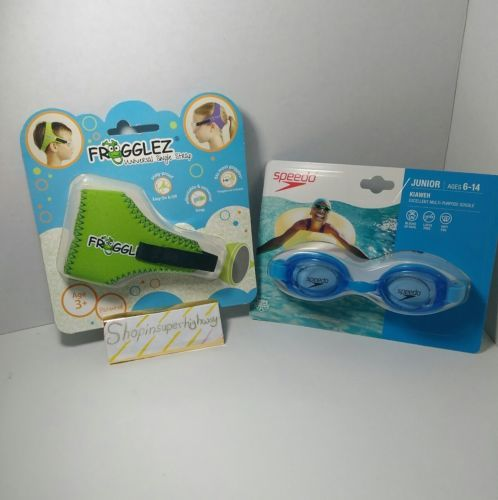 Speedo Junior Goggles Kiaweh Blue and Frogglez Universal Strap Green NEW Set