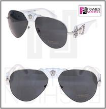 VERSACE Pilot Rock Icon Medusa White Silver Leather VE 2150Q Sunglasses Limited - $204.93