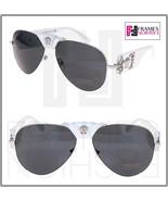VERSACE Pilot Rock Icon Medusa White Silver Leather VE 2150Q Sunglasses ... - $204.93
