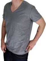 NEW DIESEL MEN'S PREMIUM COTTON GRAPHIC V-NECK SHIRT T-SHIRT T-TOSSIK DARK GREY image 2
