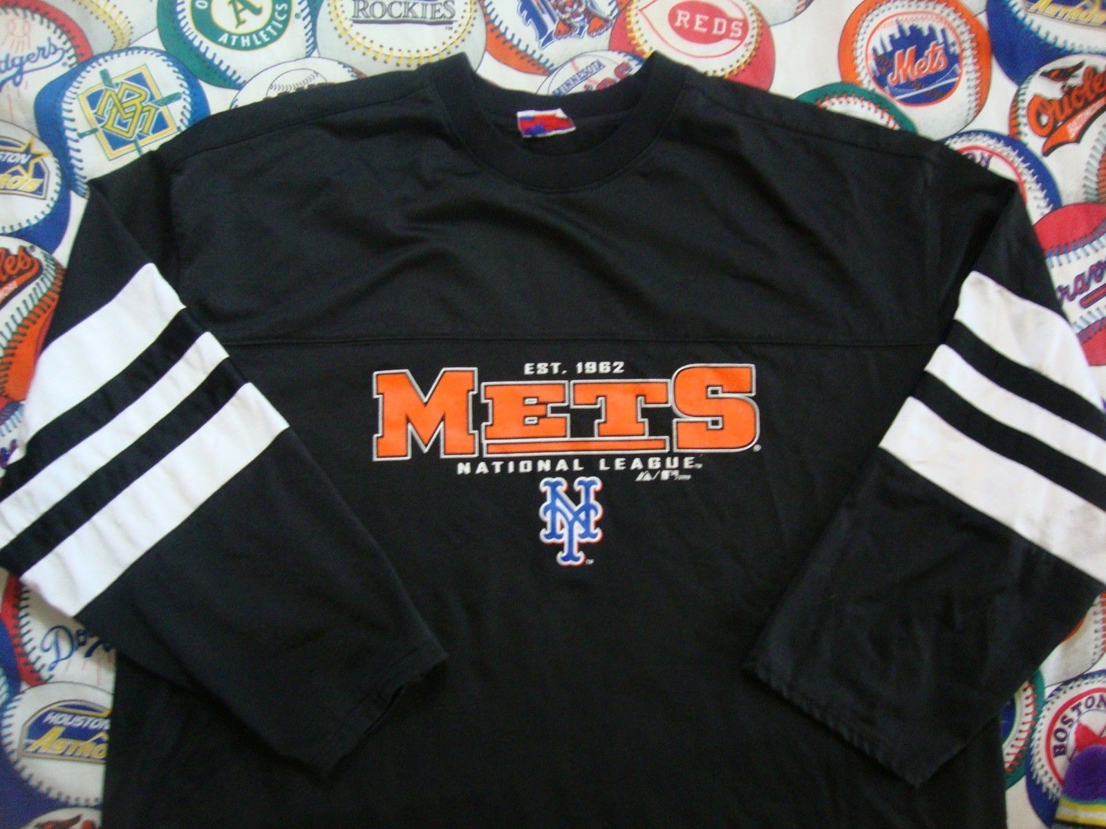 Primary image for New York Mets Jersey Ringer Style long sleeve Shirt Sz 3XL