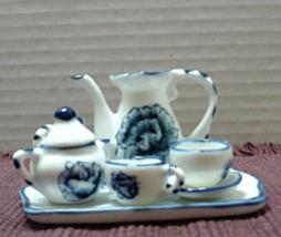 Vintage Miniature Blue & White Tea Set // 8 Piece Blue Rose Design Tea Set - $9.50