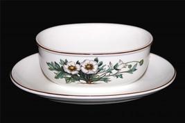 Villeroy & Boch BOTANICA White Flowers Porcelain Gravy Boat & Attached P... - $29.99