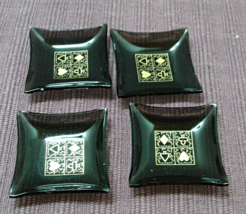 Vintage set of 4 TINY Smoked Glass Gold Trim Card Suit Bar Trays / Trink... - $10.50