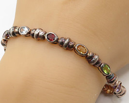 925 Sterling Silver - Vintage Multi-Color Gemstones Tennis Bracelet - B2679 - $49.24
