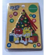 M&M's World Yellow and Red Christmas Tree Metal Ornament New with Card - $19.37