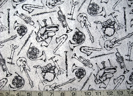 1/2 yard music/instruments black on white/gray quilt fabric -free shipping