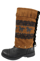 Women Boots Covers Toppers Pair Brown Faux Leather Slip On Western Rodeo Horses  - $25.47