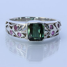 Green Tourmaline and Ruby Handmade Sterling Silver Unisex Ring size 8.75 - £81.65 GBP