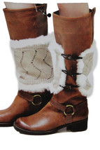 Women Boots Covers Toppers Pair White Faux Fur Slip On Booties Heels Beige Knits - $19.58