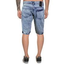 LR Scoop Men's Moto Quilted Distressed Painted Skinny Slim Fit Jean Denim Shorts image 5