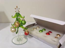 LS Arts Glass Christmas Tree with 12 Multicolored Glass Ball Ornaments NIB image 3