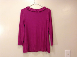 A.n.a. (A new approach) Fuchsia pink jersey blouse V-neck 3/4 sleeve size L image 2