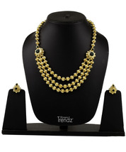 Womens Trendz Jav Mani Triveni Haar 24K Gold Plated Alloy Necklace and Earring S - $51.00