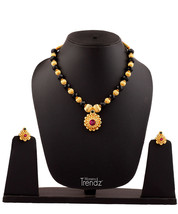 Womens Trendz Round Pandal Unique Haar 24K Gold Plated Alloy Necklace and Earrin - $40.00