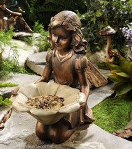 "12"" Kneeling Garden Fairy Holding Flower Birdfeeder Copper Look New"