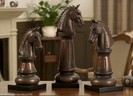 "Horse Head Chess Piece Figurines - Set of 3 -14"", 12"", 10"" - Copper Color NEW"