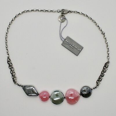 Necklace Antique Murrina Venezia with Murano Glass Pink and Gray COA87A45