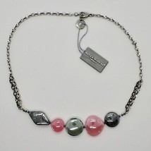 Necklace Antique Murrina Venezia with Murano Glass Pink and Gray COA87A45 image 1
