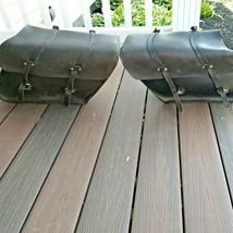 Vintage Harley Davidson OEM Slant Style Latigo Leather Saddlebags 91010-91A - $329.95