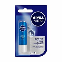 NIVEA MEN Lip Balm Active Care SPF15 Long Lasting Moisture INTENSIVE NEW... - $7.02