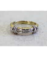 0.15ct Diamond Band Ring with Baguettes 14k Two... - $292.05