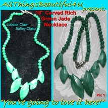 """18"""" Deep Green Jade Bead and Leaf Strand Necklace - $40.00"""