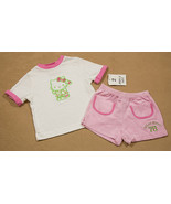 HELLO KITTY NWT TOP & SHORTS OUTFIT 12M PLAYING CROQUET WHITE PINK GREEN... - $12.61