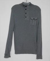 Express Mens Size S Gray  Henley Neck Zipper Snap Closure Long Sleeve Sw... - $13.99
