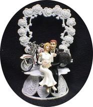 Wedding Cake Topper w/diecast white & black Harley Davidson Motorcycle bike SEXY - $58.29