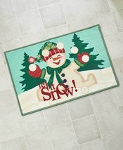 Happy Holidays Winter Happy Smiling Jolly Snow Man Bathroom Rug Let it Snow - $16.50