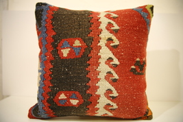 Kilim Pillows |16x16 | Decorative Pillows | 1569 | Accent Pillows turkis... - $49.00
