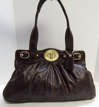 Coach 13924 Brown Leather XL Turnlock Shoulder Bag - $159.99