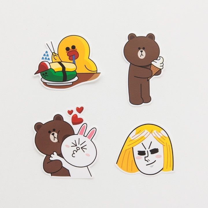LINE Friends STICKERS Set 5 Naver App Character Decor DIY Accessary Luggage Note