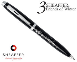 NEW SHEAFFER 100 SILK SCREENED BAMBOO BALLPOINT BLACK WITH CHROME APPOIN... - $24.70