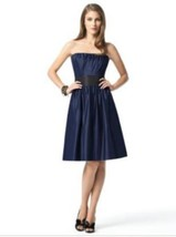 Dessy 2836....Cocktail length, Strapless, Tiffany Satin Dress....Indigo.... - $18.80
