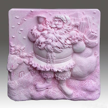 Jolly Jolly Santa  - Detail of high relief sculpture,silicone mold, soap mold - $24.39