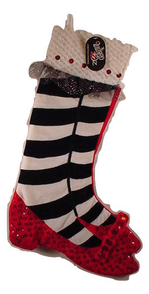 Primary image for Kurt Adler Wizard of Oz Christmas  Stocking Ruby Slippers Sequins & Jewels NEW