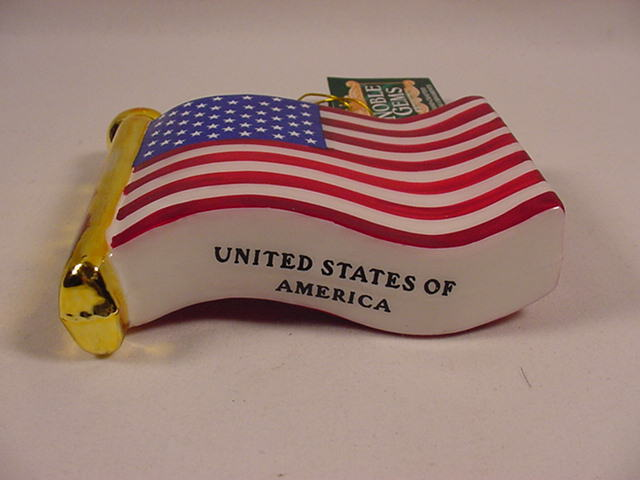Kurt Adler American Flag Hand Painted Glass Christmas Ornament New with Tag