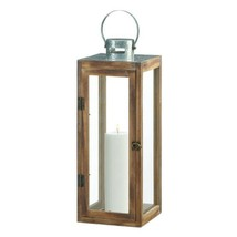 Lot of 4 Large Square Wooden Candle Lantern w/ Galvanized Metal Top, Glass Panes image 2