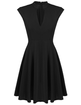 ACEVOG Black Women Cap Sleeve V-neck Mini Pleated Dress - $36.95
